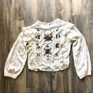 NWOT Free People Embroidered Blouse
